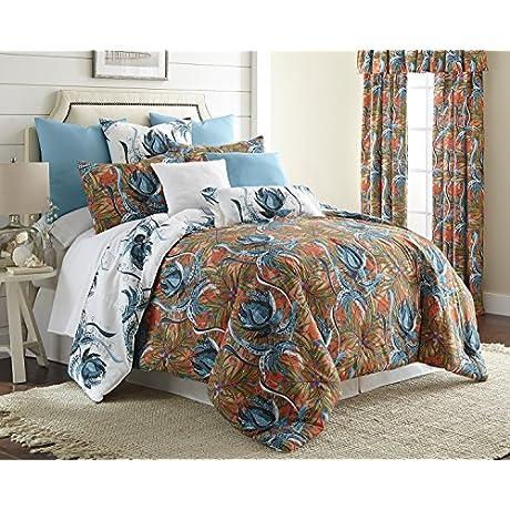 Tropical Bloom Reversible Comforter Set King