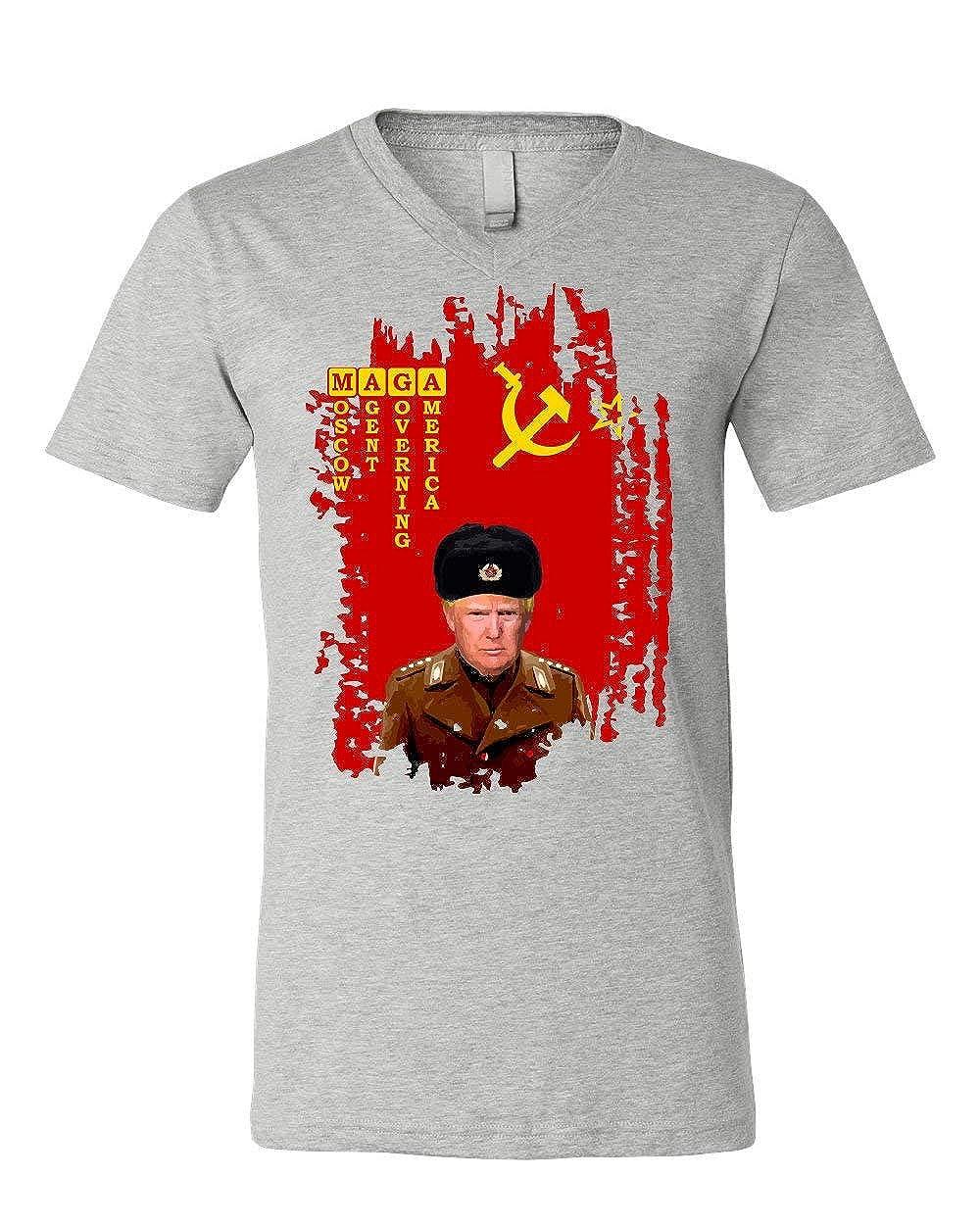 MAGA Comrade Trump V-Neck T-Shirt Funny Soviet Flag USSR Russian Agent Tee
