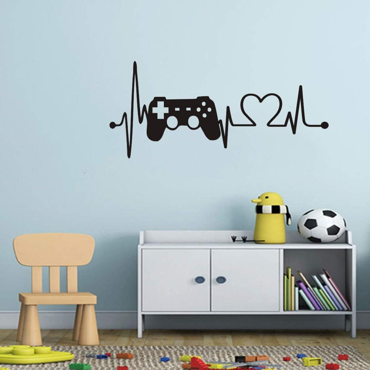 Gaming Wall Sticker Art Boys Room Video Game Controller Wall Decor Gamer Gamepad Electrocardiogram Vinyl Wall Decal DW6214-1 (Black, 42x95cm)