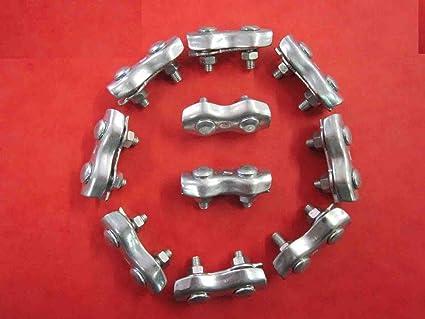 FP INOX - Lote de 10 sujetacables, 2 pernos, acero, diámetro ...