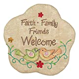 Family Friends Welcome Burlap 11.5 x 11.5 Inch Flower Shaped Cement Garden Stepping Stone Review