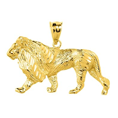 Mens 14k yellow gold lion necklace pendant amazon mens 14k yellow gold lion necklace pendant aloadofball Image collections