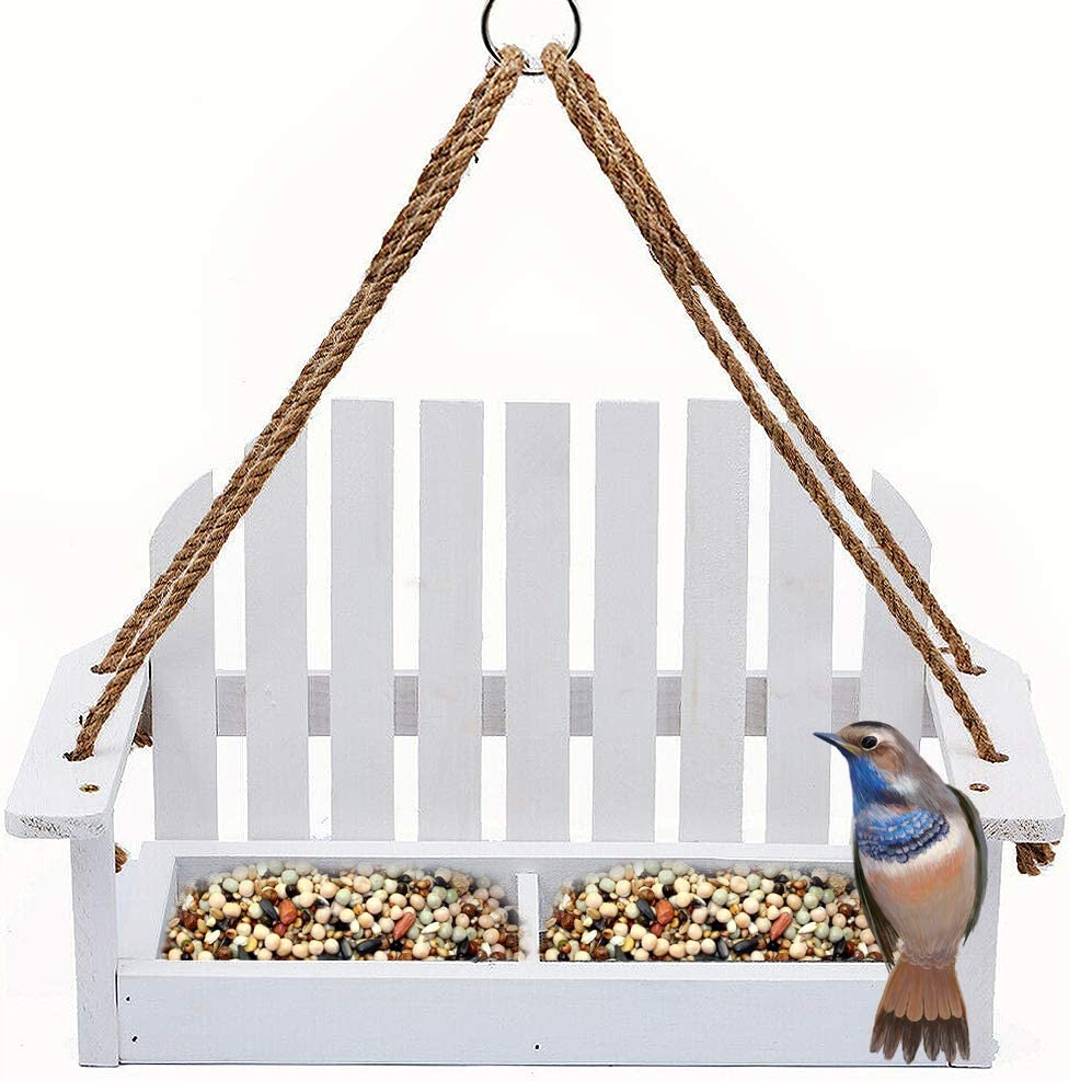 Homes Garden Adirondak Chair Bird Feeder for Outside Outdoor Wooden Bird Feeder Swing Chair Wild Bird Feeder Porch Decorative #G-8455
