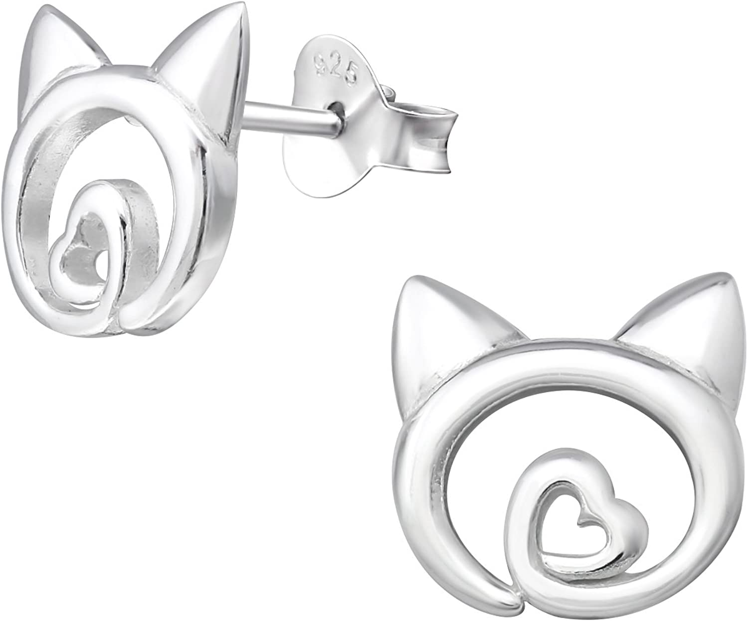 So Chic Jewels Childrens 925 Sterling Silver Cat Ear Studs