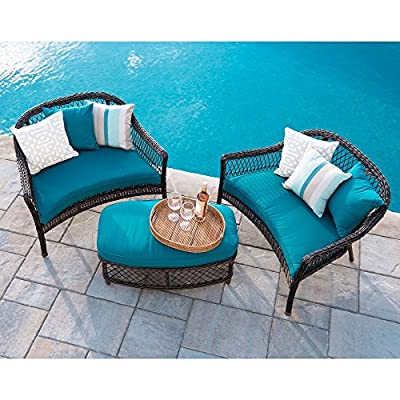 Leisure Made 496773-PEA Madison Outdoor Cuddle Seating Set, Peacock - Hand woven outdoor wicker High quality olefin fabric Durable powder coated steel frame - patio-furniture, patio, conversation-sets - 61Hhy4ZCRsL. SS400  -