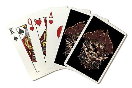 Amazon.com: Envejecido diseño de calavera Pirata (tarjeta de ...