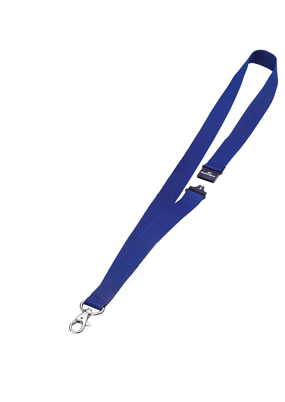DURABLE 813707 - Cordoncino in tessuto, clip per combinazione con i portanome con asola, larghezza 20 mm, lunghezza 44 cm, blu, confezione da 10 pezzi