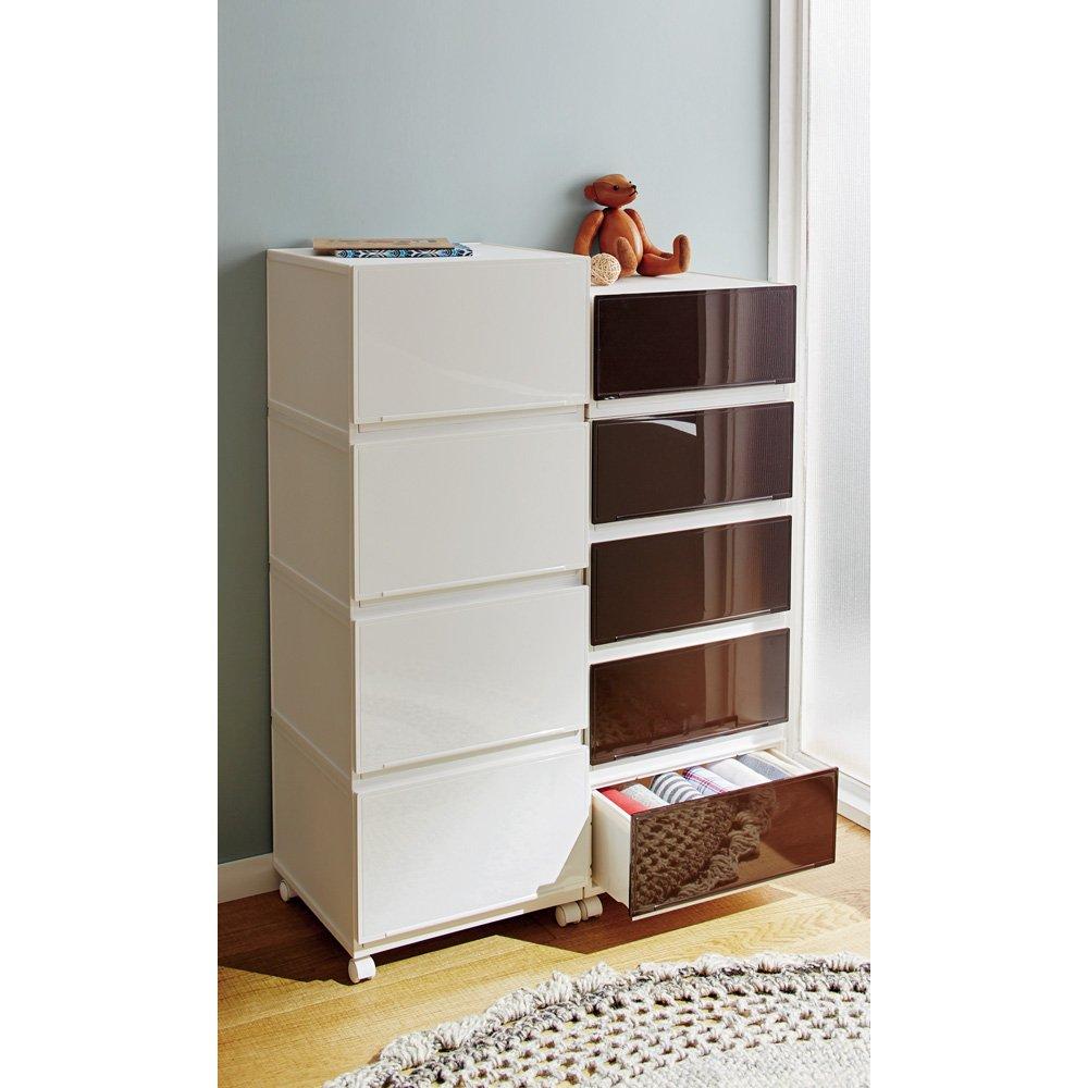 衣類収納に便利な「コレクトチェスト」 浅型4段 幅38高さ78.5cm 543720(サイズはありません イ:ホワイト) B079BNSNV2  イ:ホワイト