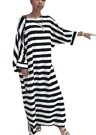 97d916cf0e RRINSINS Womens Long Sleeve Colorblock Loose Stripe Comfy Long Maxi Dress  at Amazon Women s Clothing store