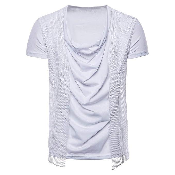 GODRESS Camiseta para Hombre Verano Ropa Casual de Color sólido Sin Mangas Playa Cuello Redondo con cordón Moda Camisetas Camisetas Chaleco Blusas Blusa ...