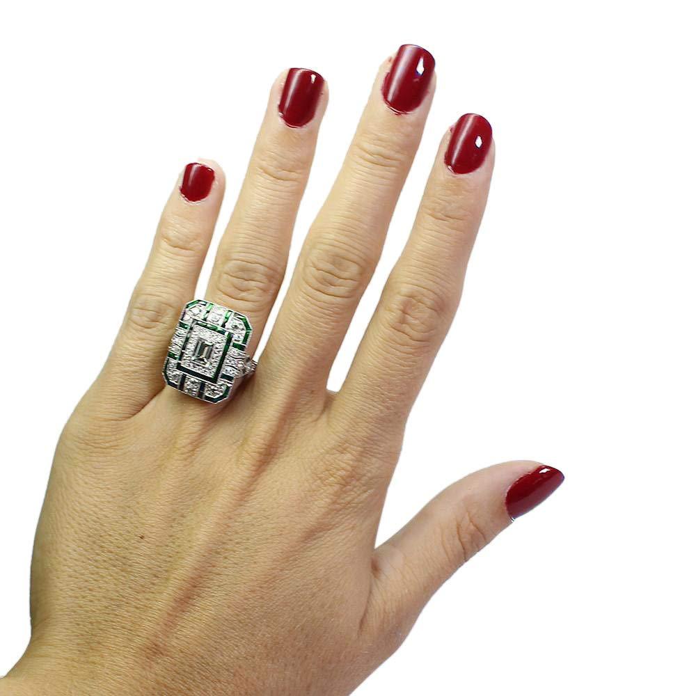 Rings for Women Teen Girls - Jiayit Fashion Women Crystal Green Silver Cubic Zirconia Band Ring Jewelry Lady Girls Band Gift (7, Green)
