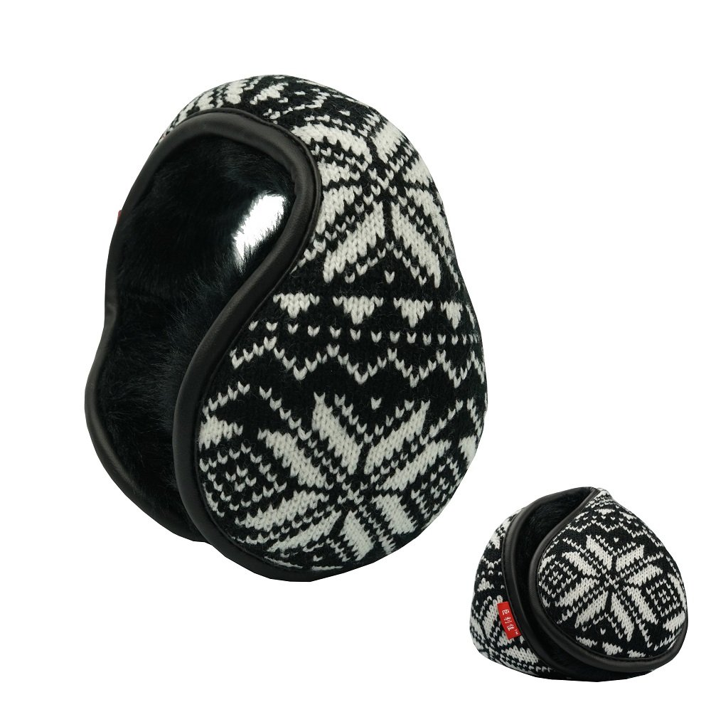 Mens Knit Foldble Ear Muffs Winter Outdoor Earcovers Faux Fur Ear Warmers Snowflake Black
