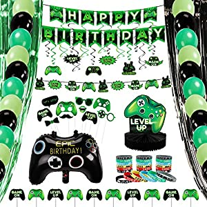 Best Epic Trends 61Hi%2BK6ED5L._SS300_ Decorlife Video Game Party Supplies, Gamer Birthday Decorations for Boys, Total 99PCS, Including Cupcake Toppers, Gaming…