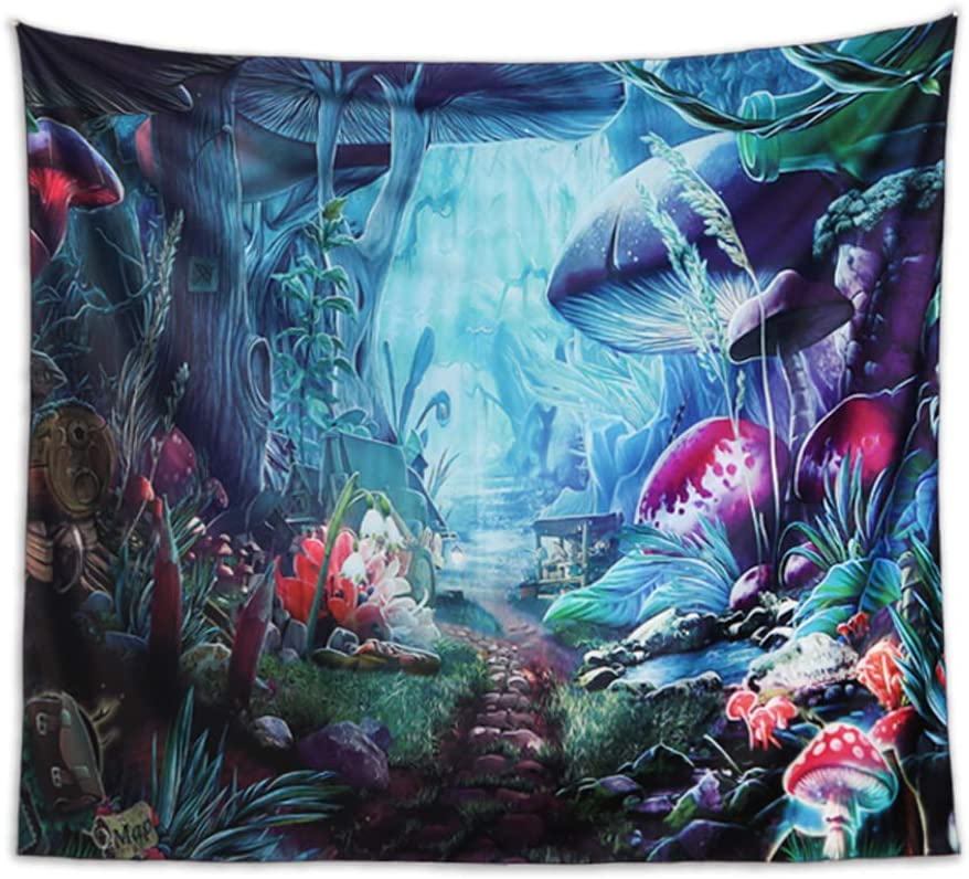 Colorful Psychedelic Tapestry, Mushroom Castle Tapestry,Microfiber Tapestry, Fairy Tale Tapestry Forest Wall Tapestries for Bedroom Living Room Dorm Party Decor.