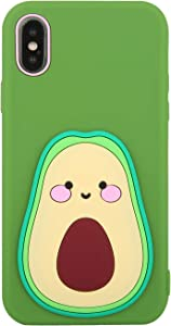 Beatuiphone Avocado Case Compatible iPhoneX iPhone Xs Liquid 3D Silicone Cute Case Shockproof Funny Full Protective Case for Teen Girls(Green Fruit1)