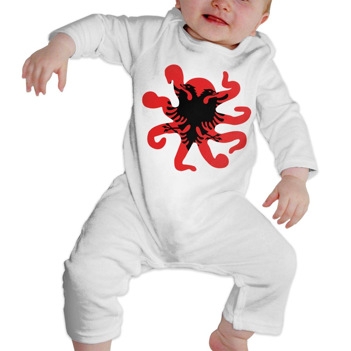 LBJQ8 Albanian Flag Octopus Shaped Newborn Kids Baby Boys Sleep and Play Pajamas Sleeper