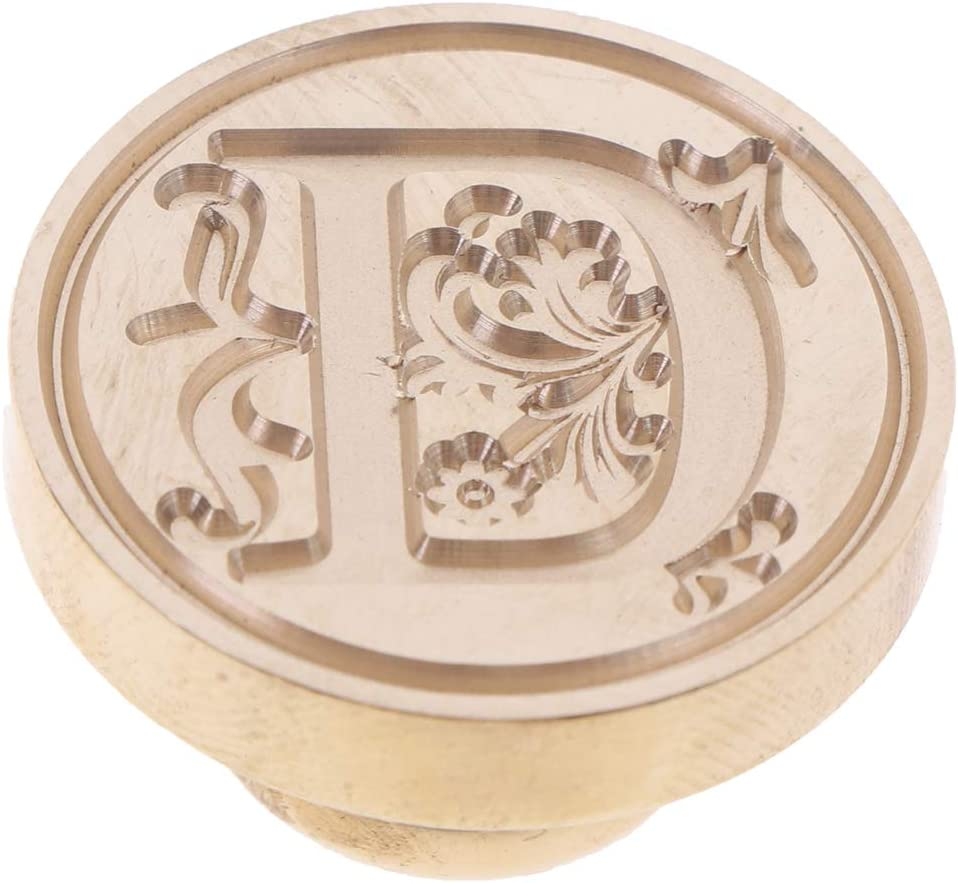 ADFEN 1 PC Seal Wax Stamp Vintage Letters Alphabet Wax Metal Sealing Stamp Classical Wood Stamp Kits Replace Copper head Post for Decorative Personalised Wedding