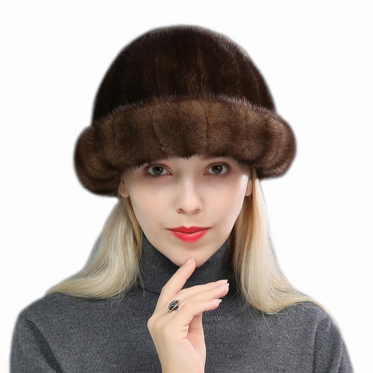 Women's Genuine Mink Fur Roller Hat Cap with Mink Top Multicolor Winter Warm (Light Brown)
