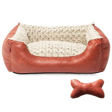 MEIDI Home Nido Desmontable Mascota Cuatro Estaciones Rosa Terciopelo Estampado en Caliente Textura Vintage Cama para