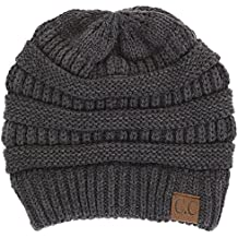 Funky Junque CC Solid Ribbed Beanie – Soft Stretch Cable Knit - Warm Skull Cap