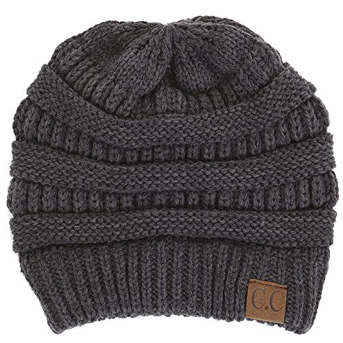 H-6020a-70 Solid Ribbed Beanie - Charcoal (Womens Beanie Solid)