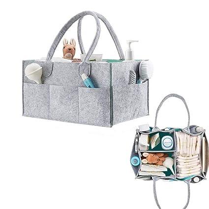 Organizador de pañales de bebé y de juguetes de viaje, cesta para artículos de bebé para regalo de recién nacido, de QICI gris