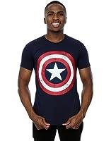 Marvel Herren Captain America Distressed Shield T-Shirt X-Large Marine Blau