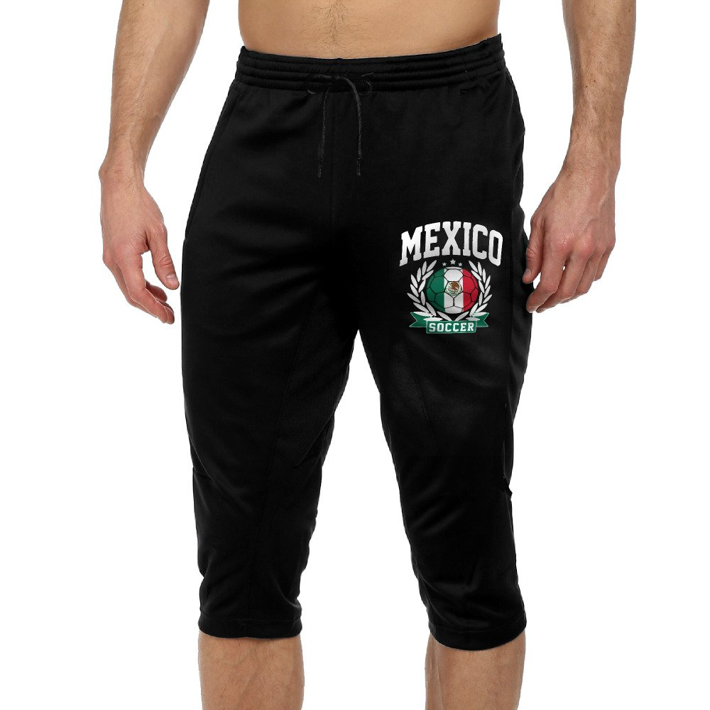 Mexico Soccer Mexico Flag Active Men Lightweight Relaxed Fit Drawstring Woven Capri Pant L