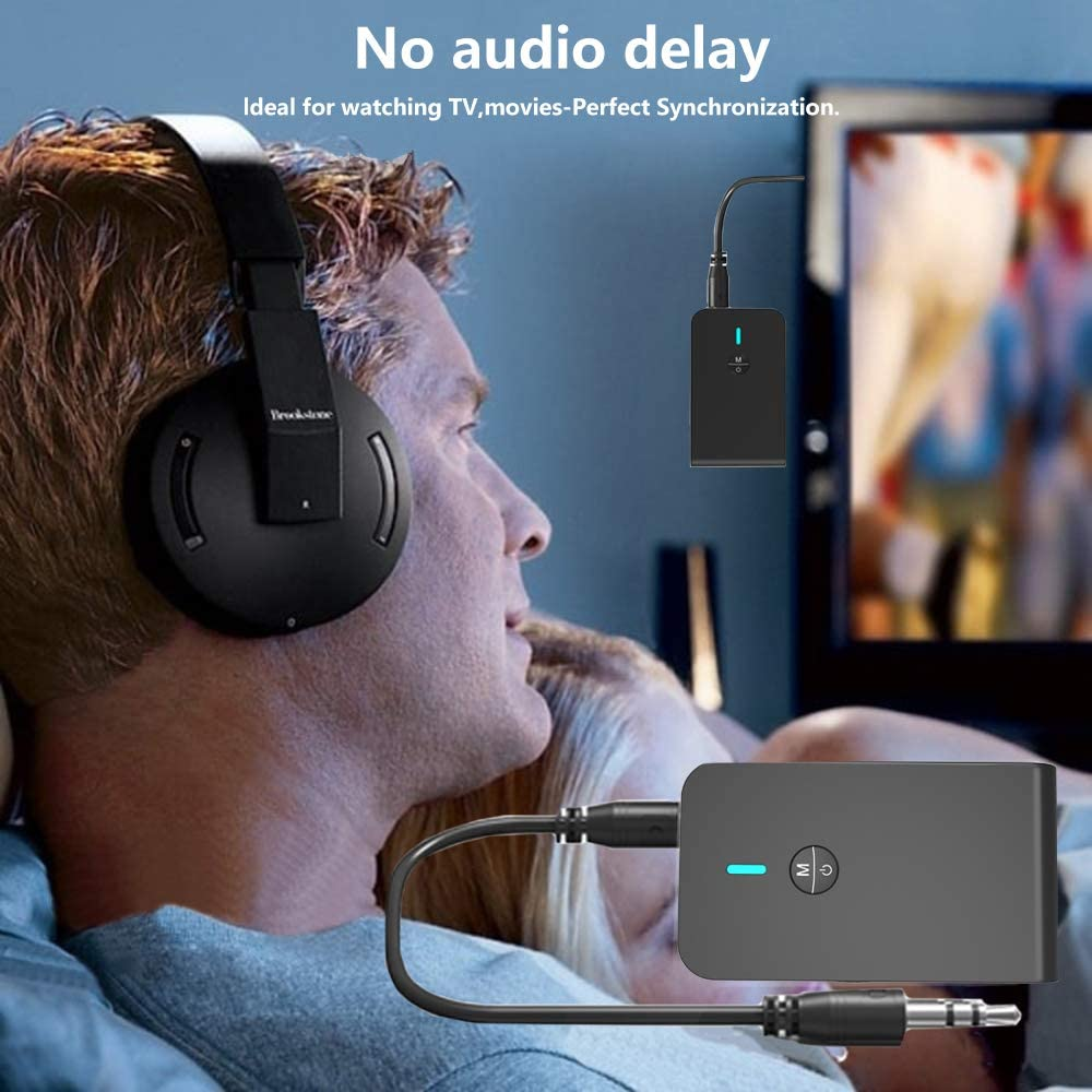2-in-1 Wireless 3.5mm Audio Adapter Low Latency Paired for PC TV Headphones Car Home Stereo Music Bluetooth 5.0 Transmitter//Receiver