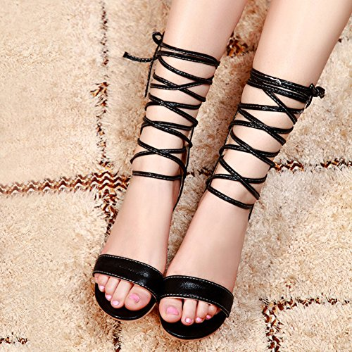 Pour Compensées D'été Romain À Gladiateur Découpées Youjia Chaussures Lacets 2 Femme Noir Sandales xgnAEqEzFZ