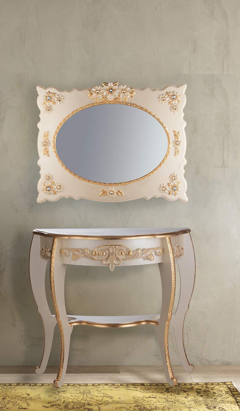 Italux Consolle Barocco Avorio con fregi Decorati in Foglia Oro Originale Made in Italy Dimensioni H.cm 83.50 Prof 94,5 cm cm 35.00 Lung