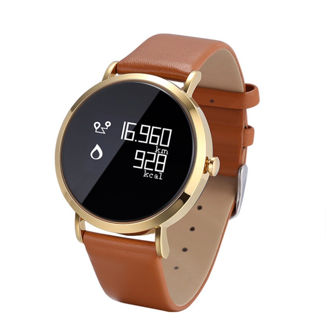 HDWY Smart Watch Leather Fitness Heart Rate Monitor Tracker Smart Bracelet Activity Bluetooth Pedometer With Sleep Monitor For Adults Kids (Color : Gold)