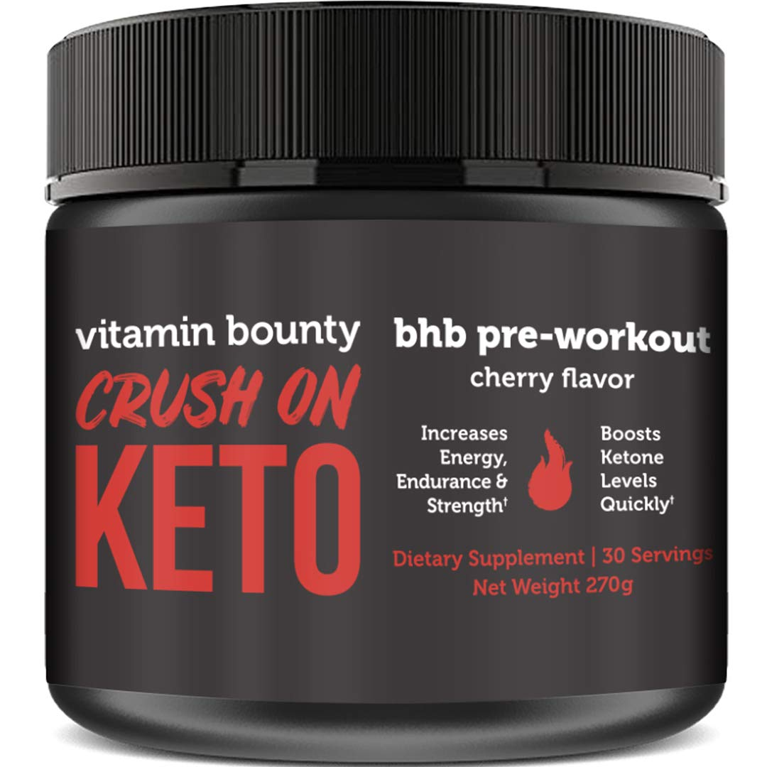 Crush On Keto - Exogenous Ketone Pre Workout Powder Drink - 0g Sugar, 0g Carbs (Cherry Flavor) by Vitamin Bounty (Image #1)
