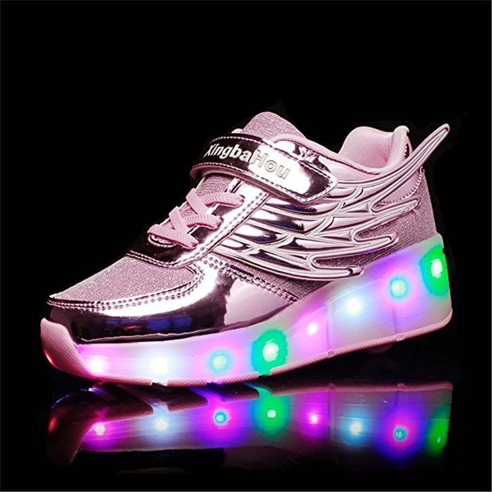 pit4tk Kid Wings LED Light Up Roller Wheel Shoes Sneaker Sport Shoes Dance Boot for Christmas