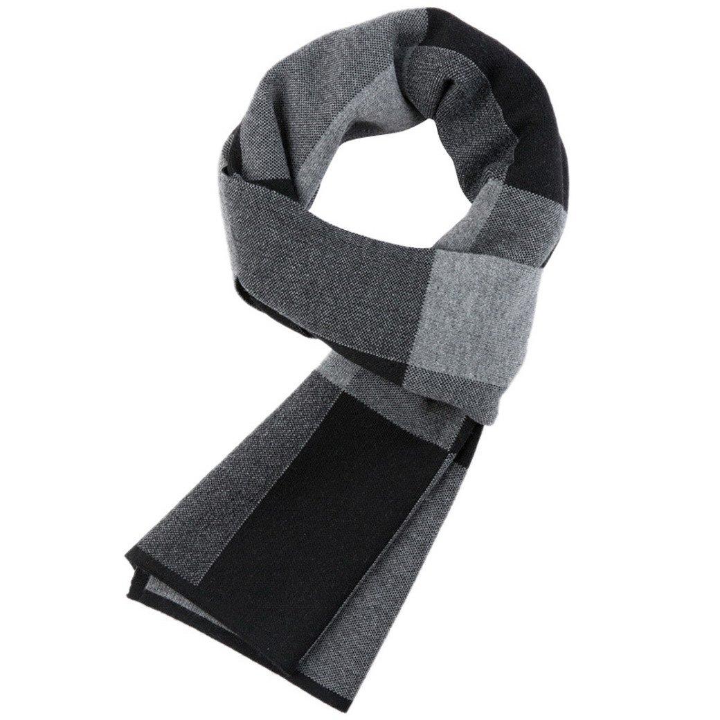FEOYA Men's Winter Fashionable Business Long Scarf Stylish Soft Wool Plaid Shawl Black & Grey
