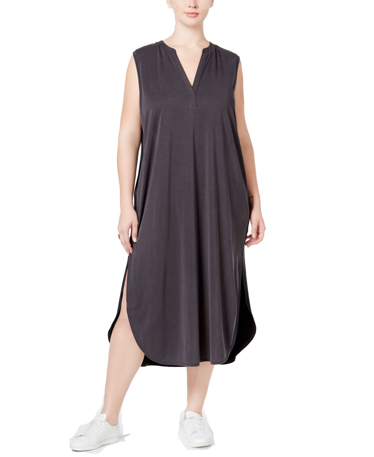 Rachel Rachel Roy Womens Plus Modal Split-Neck Casual Dress Black 2X