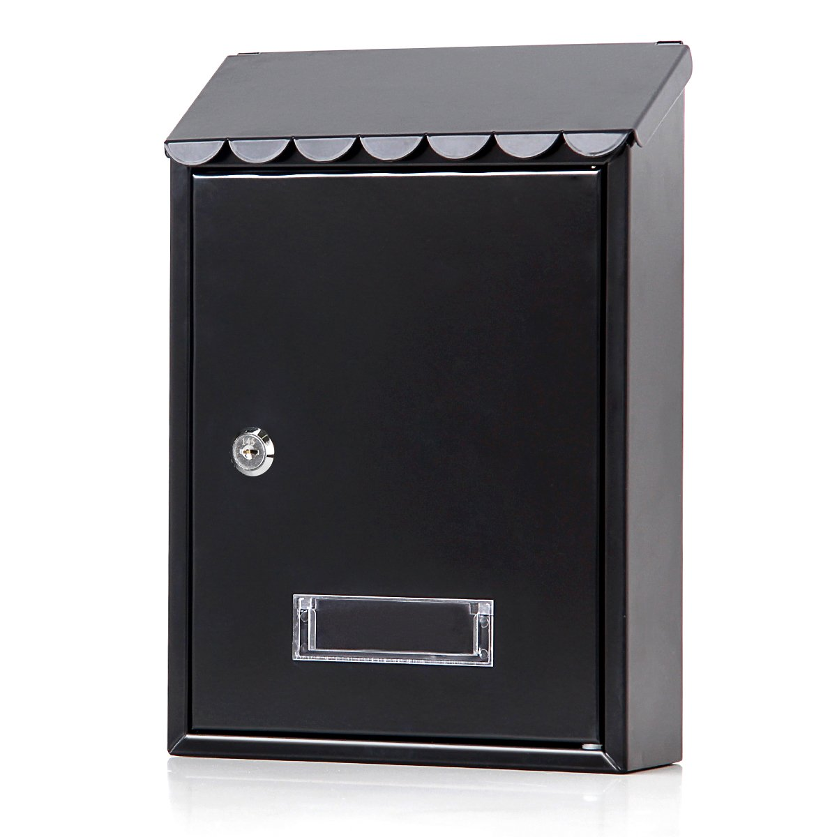 Mailboxes Wall Mount with Key Lock – Jssmst Small Mail Boxes Horizontal, 12.2 x 8.4 x 3.3 Inch, Black, SM-3301L