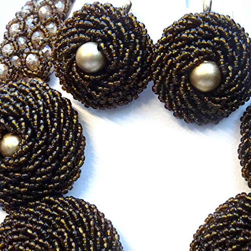 Chocolat Beige Marron allongé africain Perles mariée fête de mariage Ensemble de bijoux