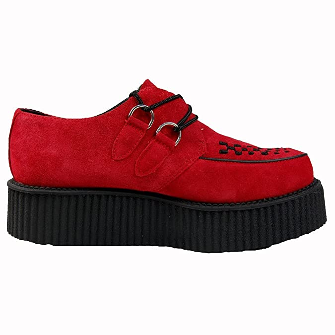 T.U.K. TUK A8056 Shoes Creeper Mondo Hi Sole Creepers Red Suede Real  Brothel Goth Shoe (LADIES UK 4 / EU 37): Amazon.co.uk: Shoes & Bags