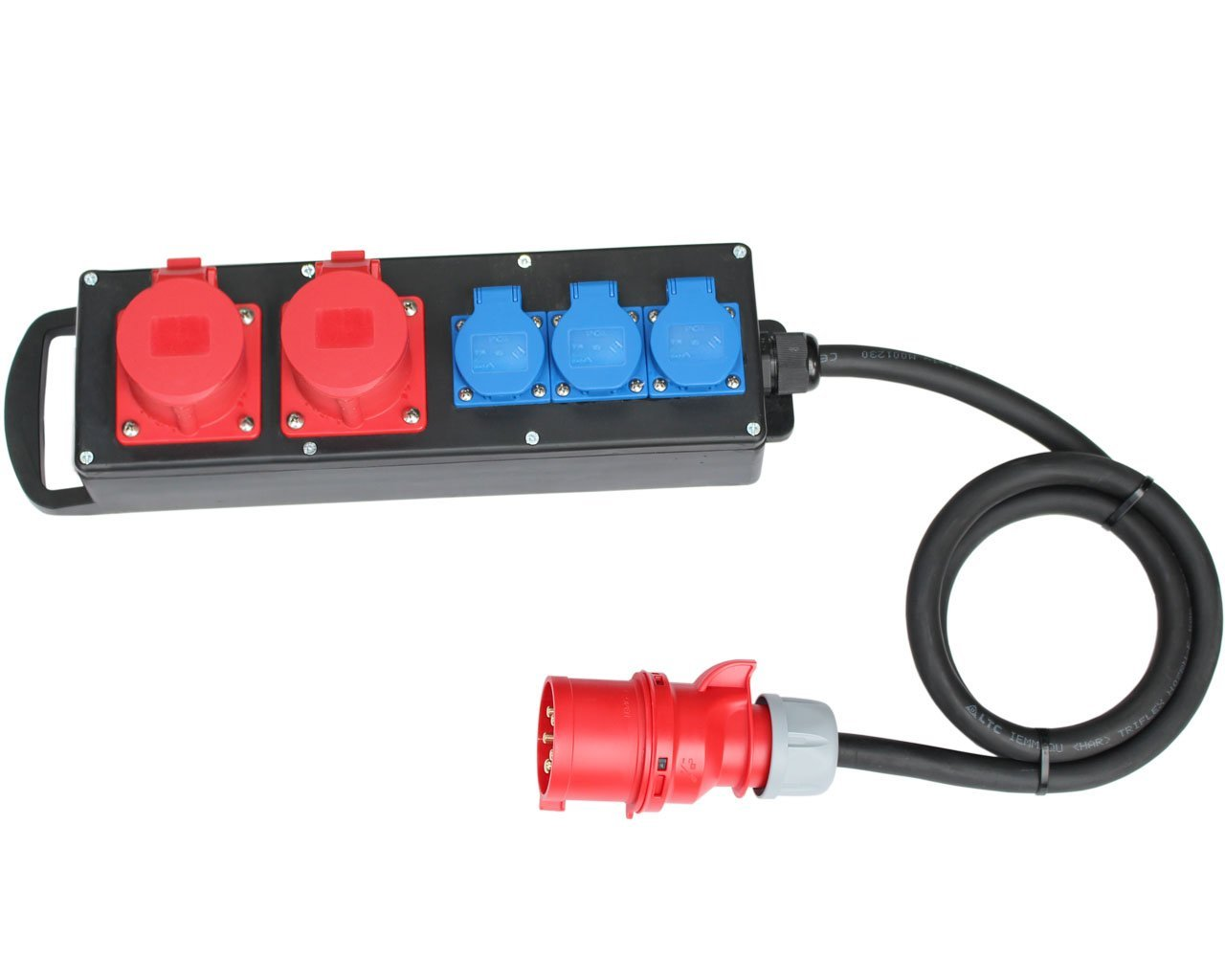400V zu 2x16A 3x230V Vollgummi Verteiler Baustromverteiler CEE Stromverteiler 16A