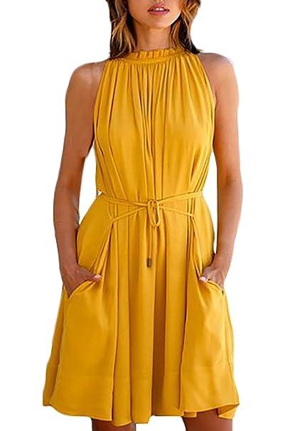 cc0c0c332300 Sommerkleider Damen Kurz Elegant Kurzarm V-Ausschnitt Locker Einfarbig  Irregular Schwing T-Shirt Kleid