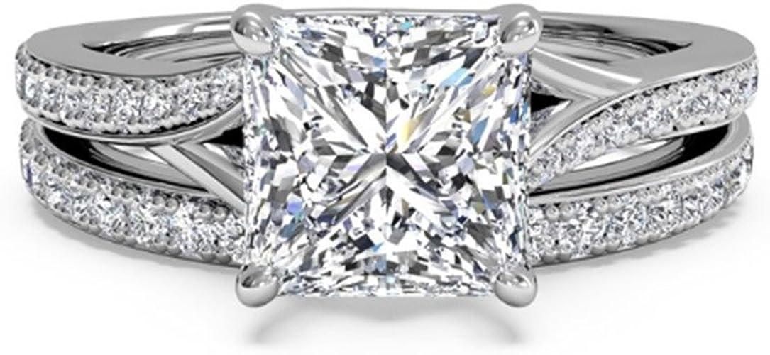 D//VVS1 Princess Cut 1.90Ct Solitaire Women/'s Engagement Ring In 14KT White Gold