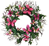 Melrose International Twiggy Ivy Artificial Wreath with Delightful Pink and Green Butterflies, 22-Inch