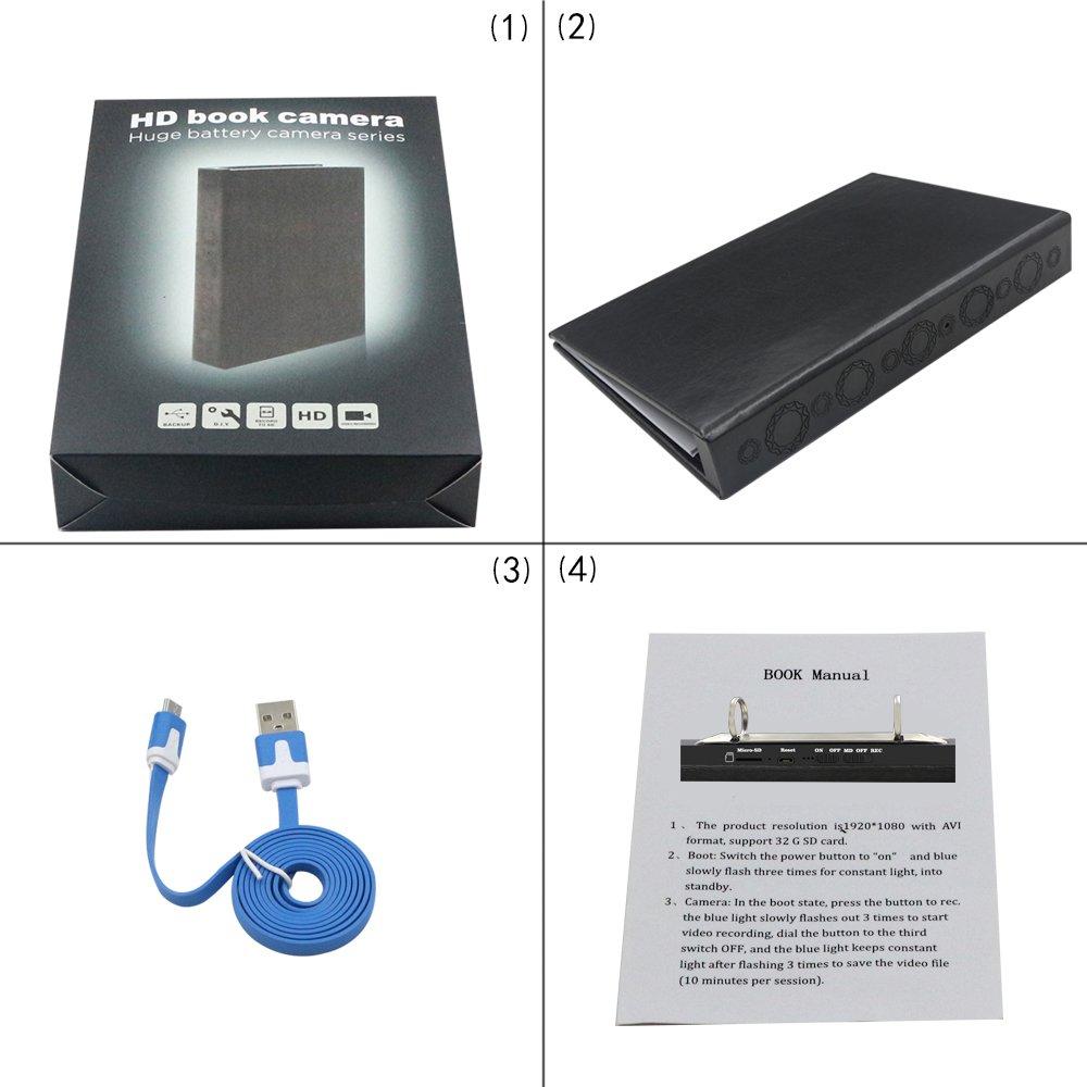 JZ Libro c/ámara Oculta Archivo A4 C/ámara esp/ía Videograbadora esp/ía HD1980 1080P