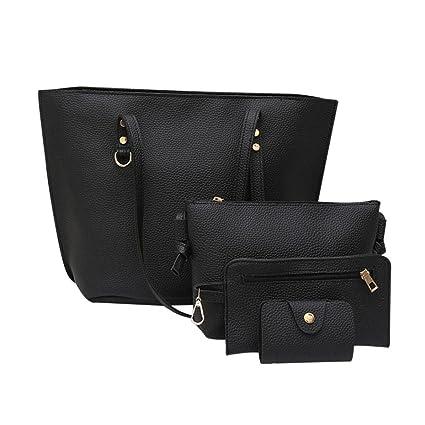 Bolso, Manadlian 4 piezas Bolso de hombro de cuero para mujer Patrón de Litchi + Bolso Crossbody + Bolso + Billetera (33cm(L)*27(H)*13cm(W), ...