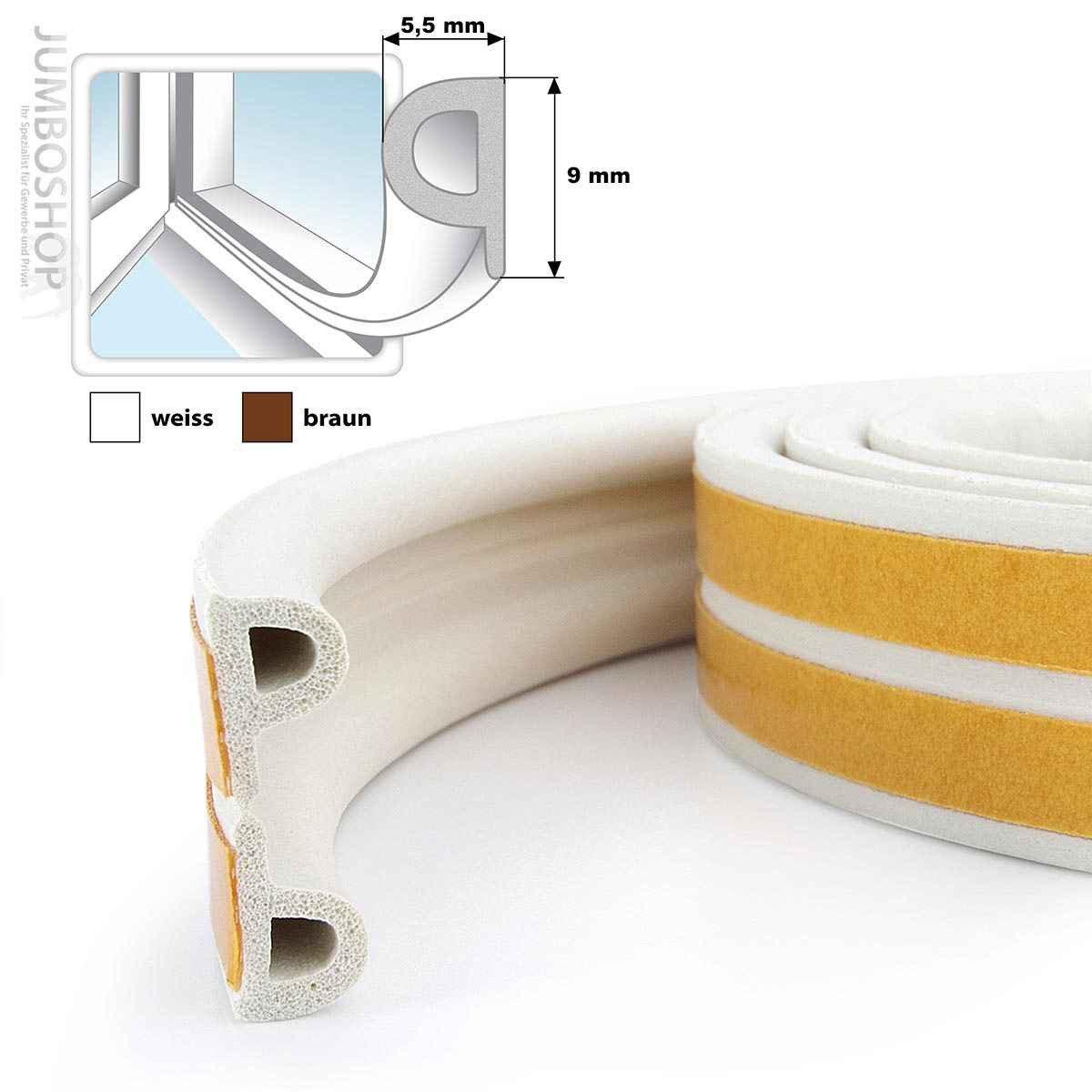STEIGNER 15 m Joint de Fen/être Autocollant Profil P Marron Joint en Caoutchouc EPDM Joint d/Étanch/éit/é