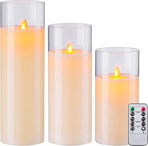 Aku Tonpa Flameless Candles Battery Operated Pillar Real Wax LED Glass Candle Sets with Remote Control Cycling 24 Hours Timer, 8 10 12 Pack of 3