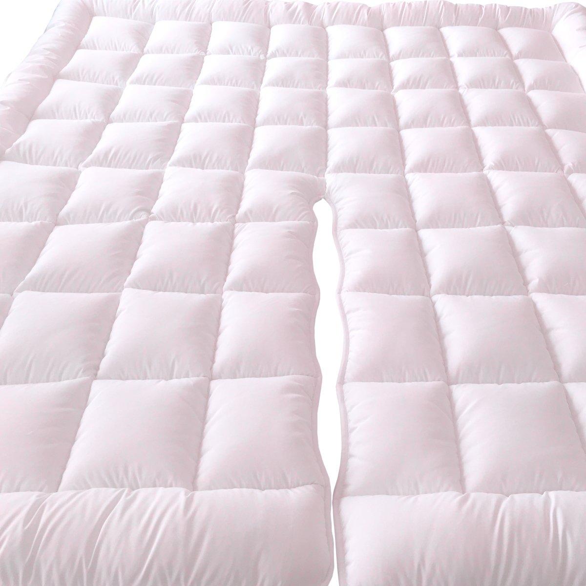 sheetsnthings 2'' Plush 100% Microfiber Top Split King Down Alternative Mattress Pad/Topper