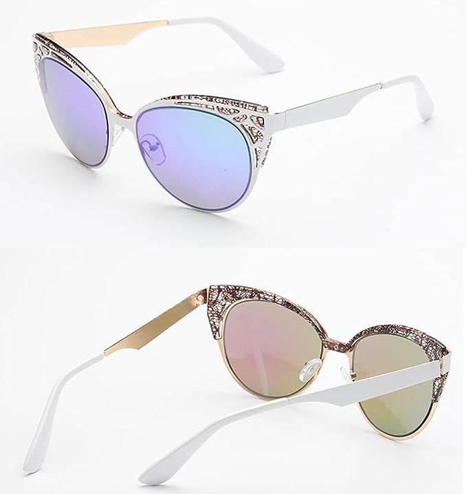 Z&YQ Occhiali da sole Stile vintage Occhi di gatto Montatura in metallo Anti-UV Guida Occhiali casual , B