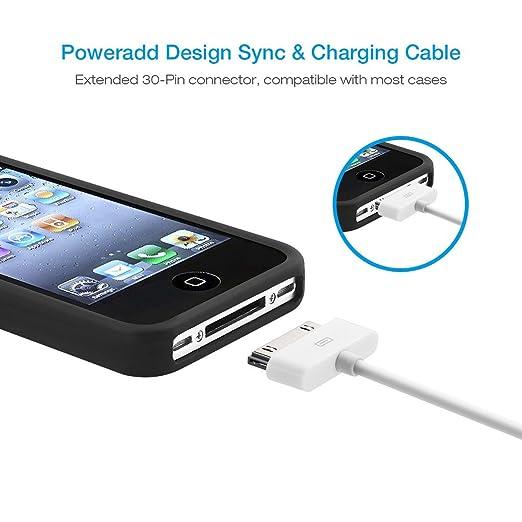 29fac7ca574 Poweradd - Cable de Datos 30-pin USB Carga, Cargador Apple MFi Certificado  para iPhone 4, iPad 1/2/3 y iPod Carga Rápida, Ligero y Portátil, ...